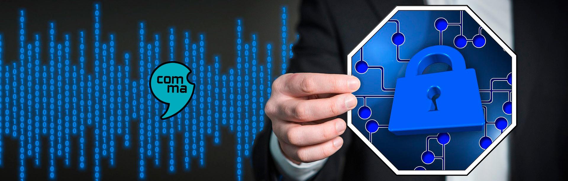codigo binario y candado seguridad